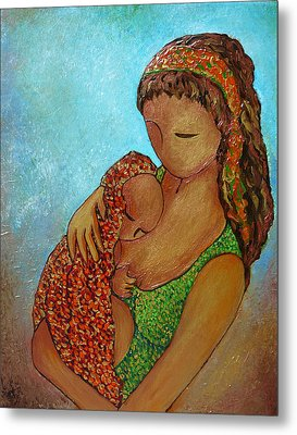 Motherhood Painting Just Close To You Original By Gioia Albano Metal Print by Gioia Albano