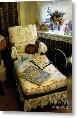 Mother's Chintz Chaise In The Corner Metal Print by RC deWinter