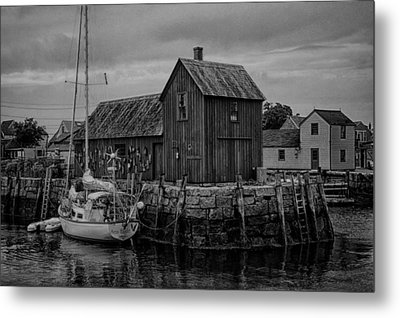 Motif Number 1 - Rockport Harbor Bw Metal Print by Stephen Stookey