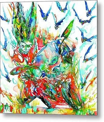 Motor Demon With Bats Metal Print by Fabrizio Cassetta