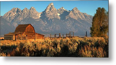 Moulton Barn - The Tetons Metal Print by Stephen  Vecchiotti