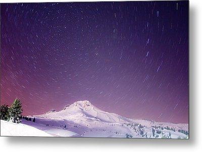 Mount Hood And Stars Metal Print by Darren  White