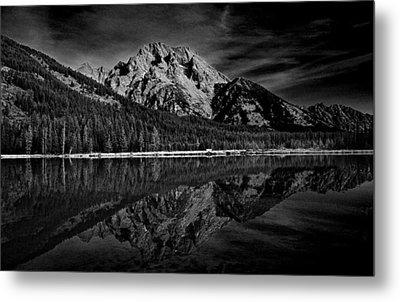 Mount Moran In Black And White Metal Print by Raymond Salani III