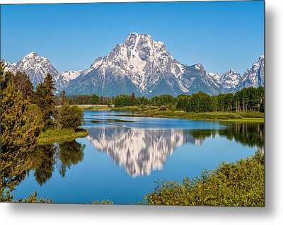 Mount Moran On Snake River Landscape Metal Print by Brian Harig