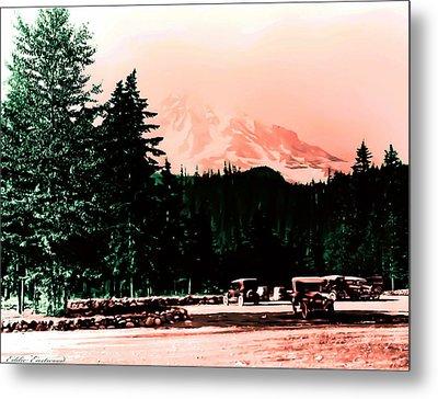 Mount Rainier With Vintage Cars Early 1900 Era... Metal Print by Eddie Eastwood