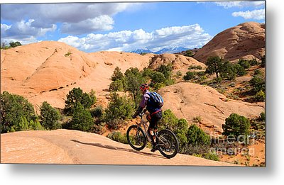 Mountain Biking Moab Slickrock Trail - Utah Metal Print by Gary Whitton