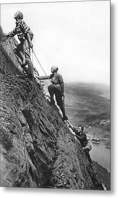 Mountain Climbing In Glacier Metal Print by Underwood Archives