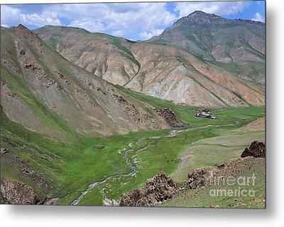 Mountain Landscape In The Tash Rabat Valley Of Kyrgyzstan Metal Print by Robert Preston