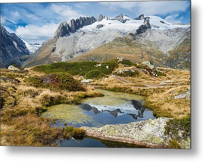 Mountain Landscape Water Reflection Swiss Alps Metal Print by Matthias Hauser