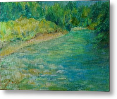 Mountain River In Oregon Colorful Original Oil Painting Metal Print by K Joann Russell