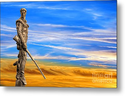 Mountaineer Statue With Blue Gold Sky Metal Print by Dan Friend