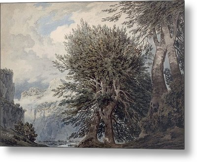 Mountainous Landscape With Beech Trees Metal Print by John Robert Cozens