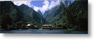 Mountains And Buildings On The Coast Metal Print by Panoramic Images