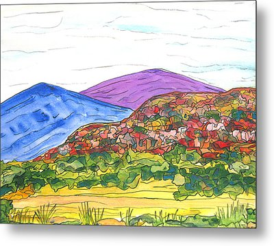 Mountains And South Mesa Metal Print by Kerry Bennett