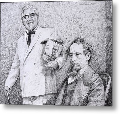 Mr Chicken And Mr Dickens Metal Print by James W Johnson