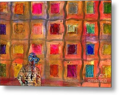 Ms Cool Goes Window Watching In Color Metal Print by Angela L Walker