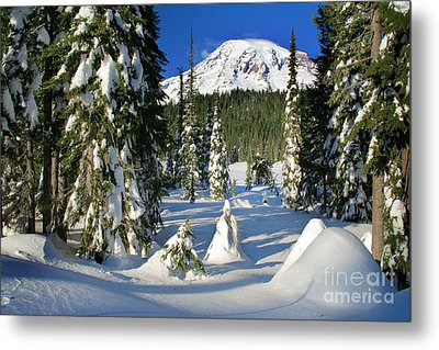 Mt Rainier At Reflection Lakes In Winter Metal Print by Inge Johnsson