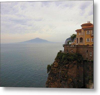 Mt Vesuvius From Sorrento At Dusk Metal Print by Marilyn Dunlap