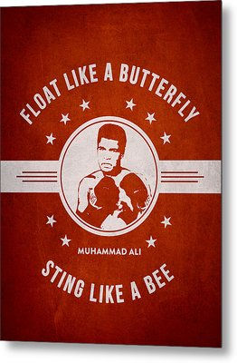 Muhammad Ali - Red Metal Print by Aged Pixel