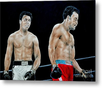 Muhammad Ali Vs George Foreman Metal Print by Jim Fitzpatrick