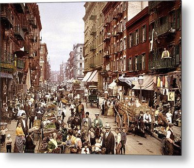 Mulberry Street, New York, Circa 1900 Metal Print by Science Photo Library