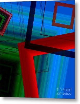 Multicolor Geometric Shapes In Digital Art Metal Print by Mario Perez
