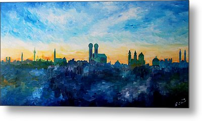 Munich Skyline With Church Of Our Lady Metal Print by M Bleichner