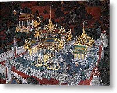 Mural - Grand Palace In Bangkok Thailand - 01131 Metal Print by DC Photographer