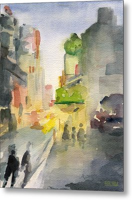 Music Box Theater Times Square Watercolor Painting Of New York Metal Print by Beverly Brown Prints