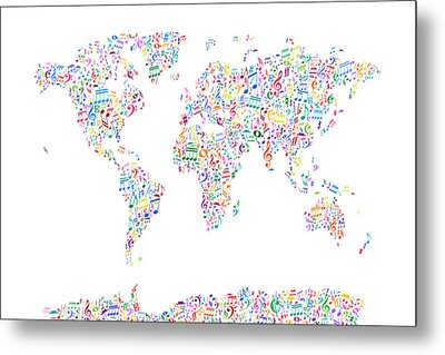 Music Notes Map Of The World Metal Print by Michael Tompsett