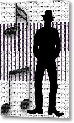 Musical Man Silhouette Metal Print by Susan Leggett