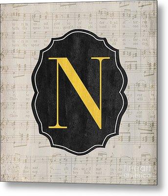 Musical Monogram Metal Print by Debbie DeWitt