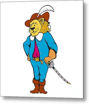 Musketeer Lion Hat Sword Cartoon Metal Print by Aloysius Patrimonio