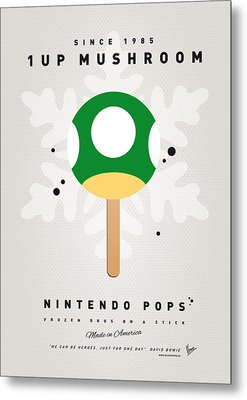 My Nintendo Ice Pop - 1 Up Mushroom Metal Print by Chungkong Art
