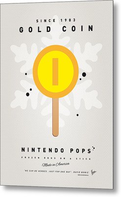 My Nintendo Ice Pop - Gold Coin Metal Print by Chungkong Art