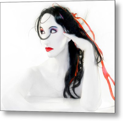 My Red Melancholy - Self Portrait Metal Print by Jaeda DeWalt