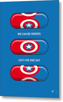 My Superhero Pills - Captain America Metal Print by Chungkong Art