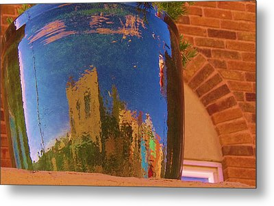 My Town Reflected In A Blue Pot Metal Print by Feva  Fotos