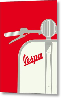 My Vespa - From Italy With Love - Red Metal Print by Chungkong Art