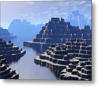 Mysterious Terraced Mountains Metal Print by Phil Perkins