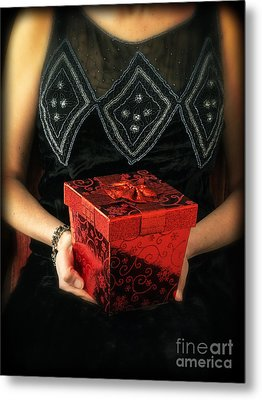 Mysterious Woman With Red Box Metal Print by Edward Fielding