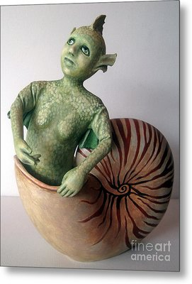 Mystery Of The Nautilus - Figurative Sculpture Metal Print by Linda Apple