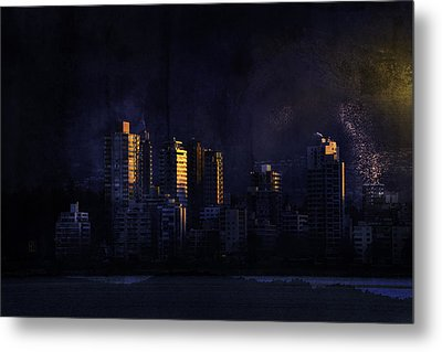 Mystic Orange Glowing Sunrise On Vancouver   Metal Print by Peter v Quenter