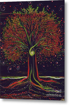 Mystic Spiral Tree Red By Jrr Metal Print by First Star Art