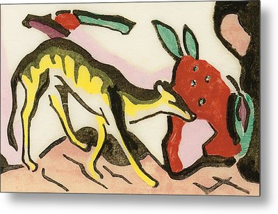 Mythical Animal  Metal Print by Franz Marc