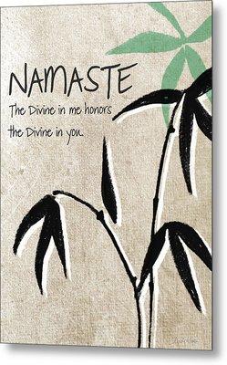 Namaste Greeting Card Metal Print by Linda Woods