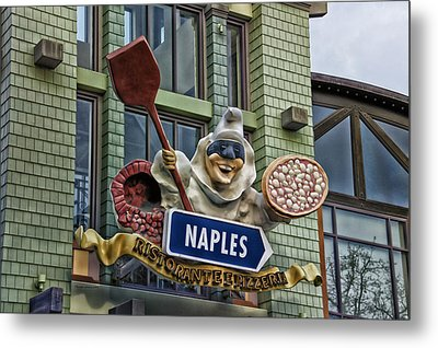 Naples Pizzeria Signage Downtown Disneyland Metal Print by Thomas Woolworth