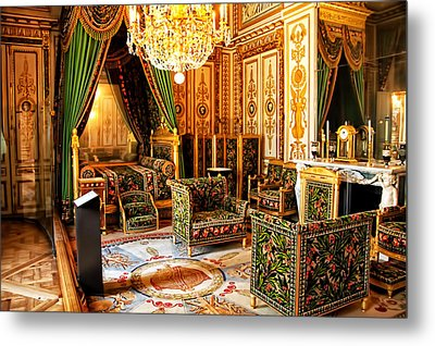 Napoleons Bedroom - Chateaux Fontainebleau - France Metal Print by Jon Berghoff