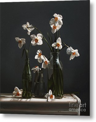 Narcissus And Bottles Metal Print by Larry Preston