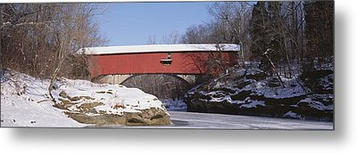 Narrows Covered Bridge Turkey Run State Metal Print by Panoramic Images